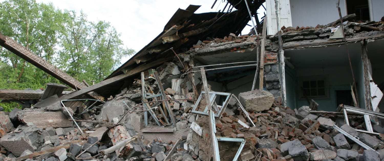 Vom Sturm zerstörtes Haus