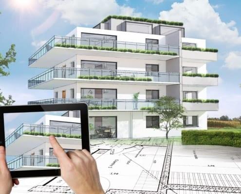 Projet de construction d'un immeuble moderne d'architecte